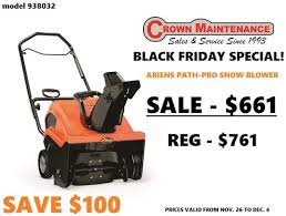 snow blower on sale black friday black friday special ariens path pro snow blower yp ca