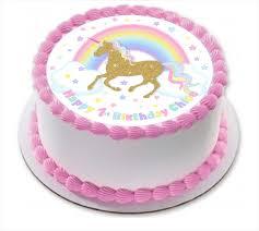 unicorn cake topper unicorn and rainbow edible wafer cake topper circle personalized