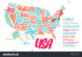 map usa iowa silhouette map usa handwritten names states stock vector 644729719