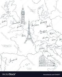 Map Of Europe Black And White by Hand Drawn Tourist Map With Sights Of Europe Vector Image