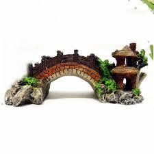 small aquarium resin bridge landscape fish tank ornament pavilion