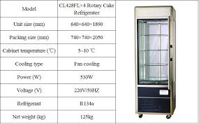 Cabinet Certification Vertical Cake Display Cabinet Refrigerated Pastry Equipment