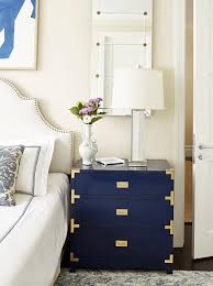 white stained bed side table with three drawer and rounded victoria 3 drawer side table navy blue bungalow 5