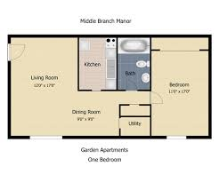 Granny Flat Floor Plans 1 Bedroom Floorplan The Communities At Middle Branch Apartments U0026 Townhomes