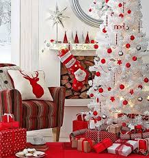 white tree ornaments pillow and presents