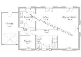 plan maison rdc 3 chambres plan de maison traditionnelle gratuit plan maison plain pied 3 4