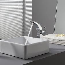 bathroom stone vessel sinks with white countertop design and grey