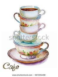 Handmade Tea Cups - teacup stock images royalty free images vectors