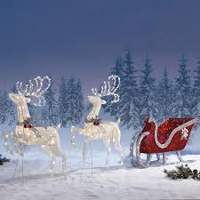 400 led outdoor christmas lights new sleigh reindeers with 400 led lights outdoor garden christmas