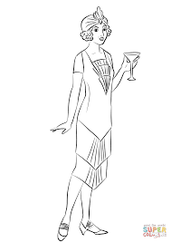 1920 u0027s woman wearing cocktail dress coloring page free printable