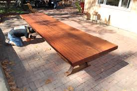 Round Redwood Picnic Table by Custom Tables Heritage Salvage