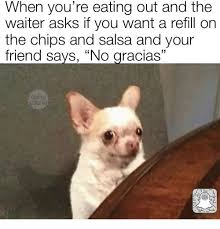 Meme Chip - when you re eating out and the waiter asks if you want a refill on