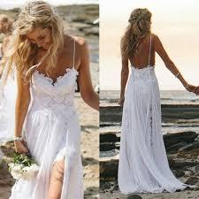 white spaghetti strap lace bodice chiffon long wedding dress with