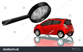 smal car magnifying glass car reviewer stock illustration