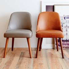 Dining Leather Chair Mid Century Leather Dining Chair West Elm Regarding Chairs