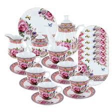 roses tea set roses and tartan deluxe tea set