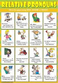 relative pronouns who whose or which interactive worksheet