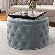 Gray Leather Ottoman Ottomans U0026 Poufs Wayfair