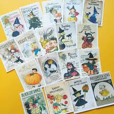 halloween stickers set of 18 handmade stickers vintage style
