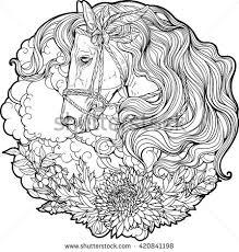 portrait horse clouds flowers coloring stock vector 420841198