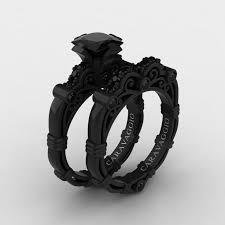 black wedding ring set black wedding ring sets
