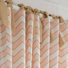 Bright Pink Crib Bedding by Pale Pink And Gold Chevron Drape Panel Gold Chevron Drapery