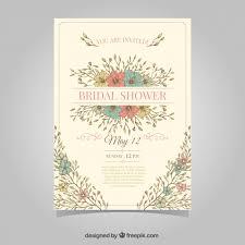 vintage bridal shower invitations vintage bridal shower invitation with colored flowers vector