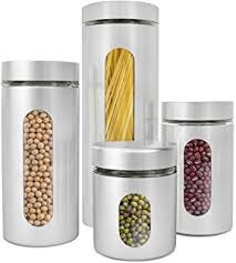 kitchen canisters stainless steel amazon com polder 3346 75 3 stainless steel window canister