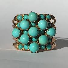 turquoise birthstone vintage turquoise ring turquoise cluster ring 18k yellow gold