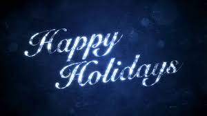 happy holidays on blue hd background loop