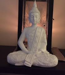 large semi gloss white thai buddha statue peaceful
