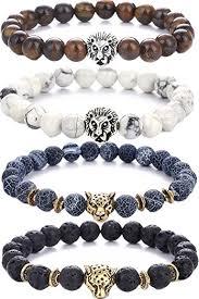 bracelet elastic images Pusheng lava rock stone bead bracelets set beeded lion jpg
