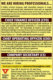 Chief Operations Officer Resume Job Chief Operating Officer Thrissur Supply Chain Logistic