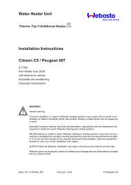 water heater unit installation instructions citroen c5 peugeot