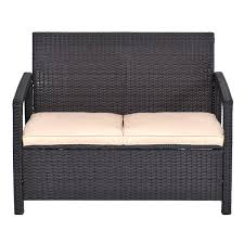 Wicker Storage Bench Rattan 2 Seater Garden Bench Storage Bench Seat With Wicker