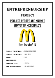 sample of acknowledgement letter for project report project report and market survey of mcdonald s cbse class 12 entrepr