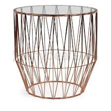 Copper Side Table Soho Copper Wire Side Table With Glass Top Buy Side Tables