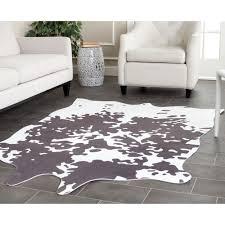 Safavieh Cowhide Rugs Safavieh Faux Cowhide Grey White Polyester Rug 5 X 6 6 5 X