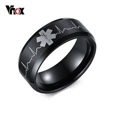 ring men vnox identification rings for men jewelry black 8mm