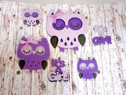 purple owl baby shower decorations owl cake and cupcake toppers purple baby shower it s a girl owl