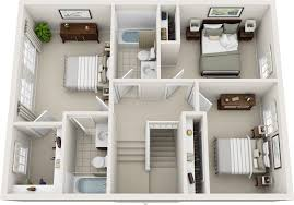 3 Bedroom 2 Bathroom House Plans Three Bedroom Floor Plans Charleston Hall Apartments