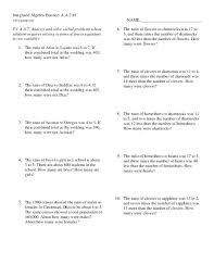 system of equations word problems worksheet worksheets