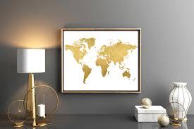 Gold world map Map poster Map wall art Digital