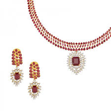 diamond ruby necklace sets images Interchangeable gems ruby diamond necklace set raj jewels jpg