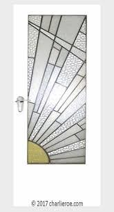 deco moderne door with cubist rising sun design leaded