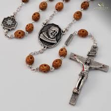 italian rosary st pio of pietrelcina silver plated rosary ghirelli rosaries