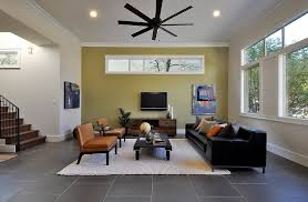Living Room With Black Leather Furniture by Bamboo Accent Wall Living Room Contemporary With Black Leather