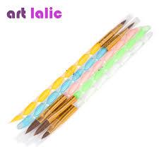 5pcs 2 ways acrylic nail art brush pen cuticle pusher high quality