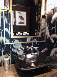 hot summer trend 25 dashing powder rooms with tropical flair bathrooms a hint of metallic glint for the tropical powder room