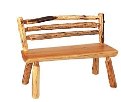 Rustic Log Benches - rustic log bench with back 48 inch reclaimed furniture design ideas